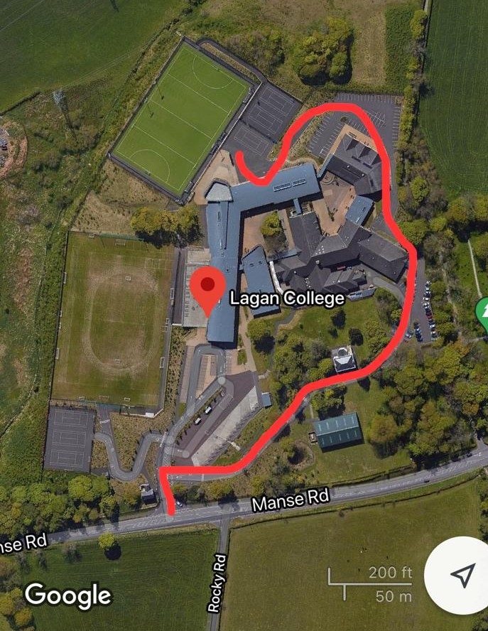 Lagan College - route to pitch from main entrance